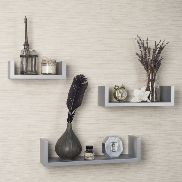 "Laminated Silver Gray Floating ""U"" Shelves (Set of 3)"