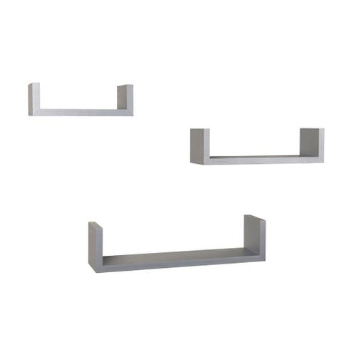 Danya B. Laminated Silver Grey Floating 'U' Shelves (Set of 3)