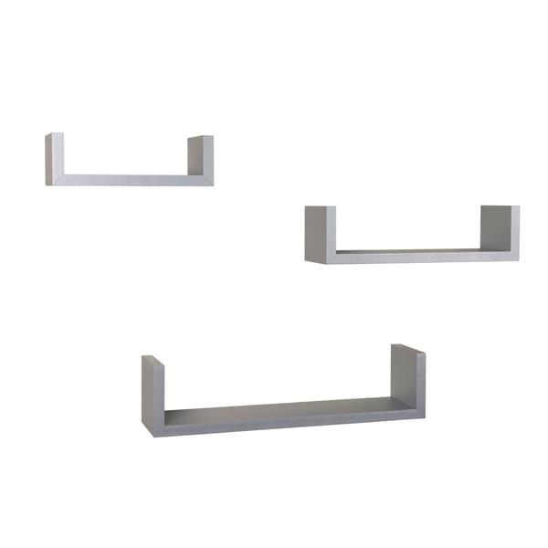 Danya B. Laminated Silver Grey Floating 'U' Shelves (Set of 3)