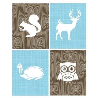Rocket Bug Woodland Animals Nursery Wall Art Set