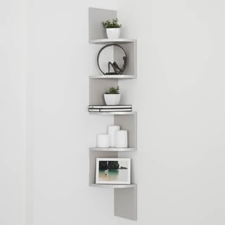 Danya B Grey Laminate Large Corner Wall Mount Shelf