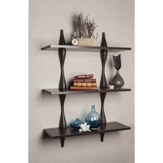 Danya B Three Level Shelving System with Decorative Ondulating Brackets - Walnut