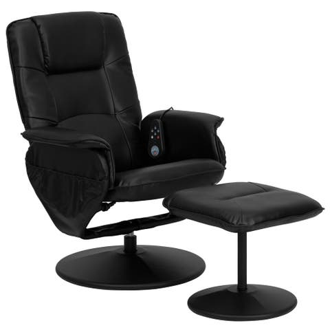 Massaging Black LeatherSoft Recliner/ Ottoman with LeatherSoft Wrapped Base