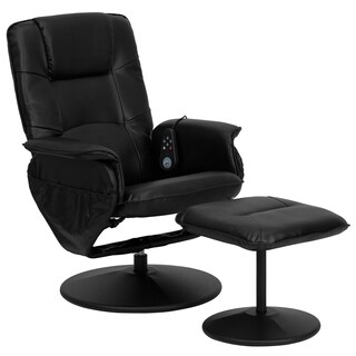 Massaging Black Leather Recliner/ Ottoman with Leather Wrapped Base
