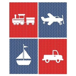 Rocket Bug Transportation Nursery Wall Art Set