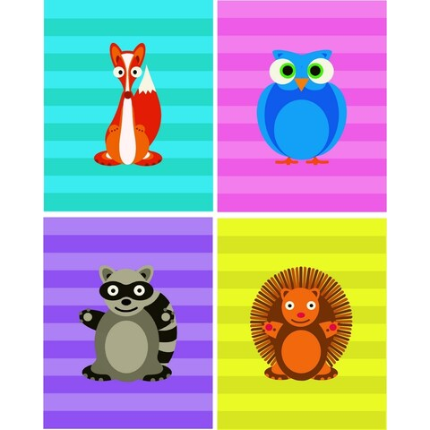 Rocket Bug Cheerful Woodland Critters Nursery Wall Art Set