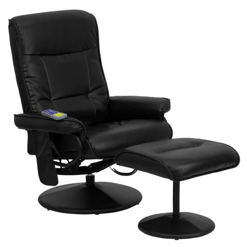 Massaging Black LeatherSoft Recliner and Ottoman with Wrapped Base