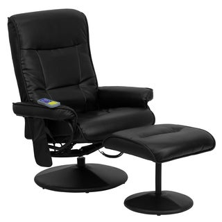 Massaging Black Leather Recliner and Ottoman with Wrapped Base
