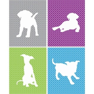 Rocket Bug Girl's Playful Puppies Nursery Wall Art Set