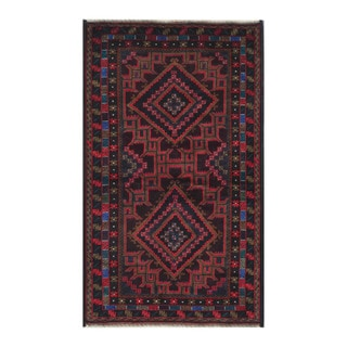 Herat Oriental Afghan Hand-Knotted Tribal Balouchi Brown/ Black Wool Rug (3'7 x 6')