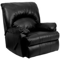 Contemporary Apache Black Bonded Leather Rocker Recliner