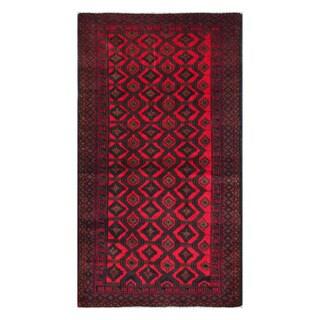 Herat Oriental Afghan Hand-Knotted Tribal Balouchi Wool Rug (3'7 x 6'4)