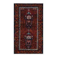 Herat Oriental Afghan Hand-Knotted Tribal Balouchi Wool Rug (3'8 x 6'3)