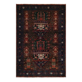 Herat Oriental Afghan Hand-Knotted Tribal Balouchi Brown/ Black Wool Rug (4'1 x 6'2)