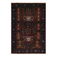 Herat Oriental Afghan Hand-Knotted Tribal Balouchi Wool Rug (4'1 x 6'2)