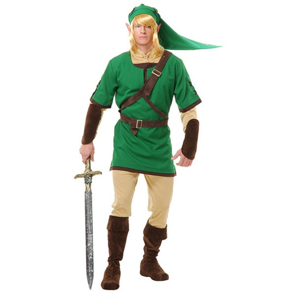 Shop Link Adult Costume Legend Of Zelda Elf Warrior Video Game Gamer ...