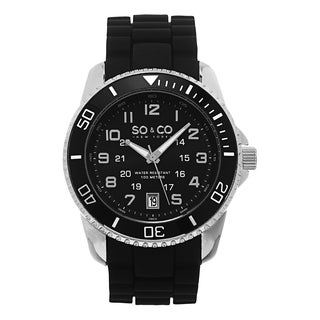 SO&CO New York Men's Yacht Club Quartz Black Rubber Strap Watch