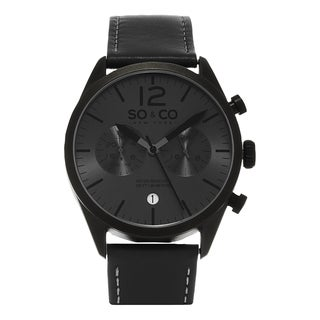 SO&CO New York Men's Monticello Quartz Grey Leather Strap Watch