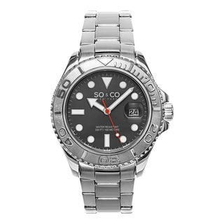 SO&CO New York Men's Yacht Club Quartz Unidirectnail Grey Dial Watch with Stainless Steel Bracelet