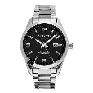 SO&CO New York Men's Madison Quartz Black Dial Stainless Steel Watch