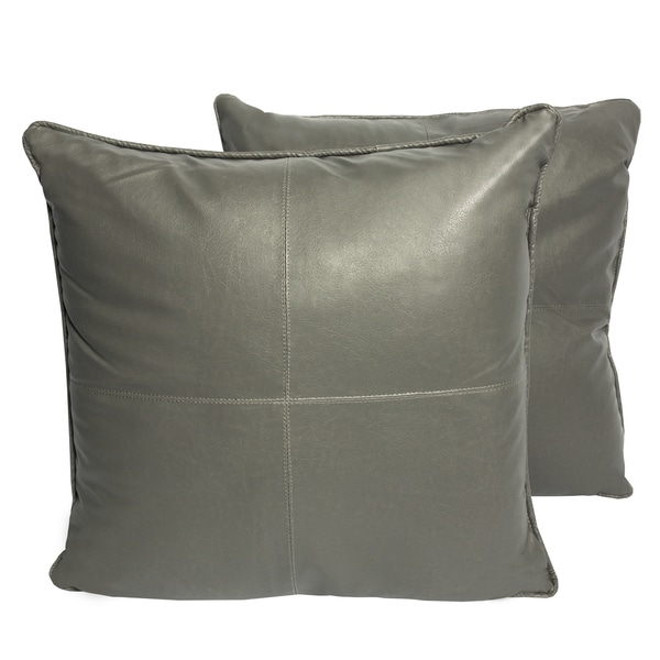 Shop Grey Four Panel Faux Leather 16 Inch Accent Pillow