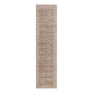 Herat Oriental Afghan Hand-Knotted Tribal Vegetable Dye Gabbeh Beige/ Ivory Wool Rug (2'6 x 10'5)