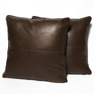 Brown Four-panel Faux Leather 16-inch Accent Pillow (Set of 2)