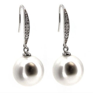 Queenberry Sterling Silver Genuine 12mm Round White Seashell Pearl Clear CZ Crystal French Hook Earw