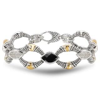 Avanti Sterling Silver 18k Yellow Gold Marquise Black Onyx White Sapphire Link Bracelet