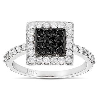 Luxurman 14k Gold 5/8ct TDW White and Black Diamond Ring