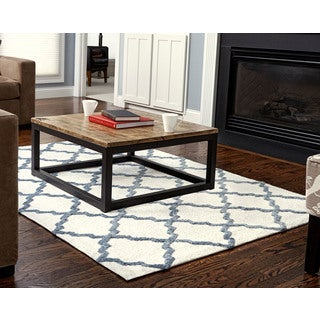 Jani Tia Ivory and Blue-Grey Rayon from Bamboo Viscose Rug (5' x 7')