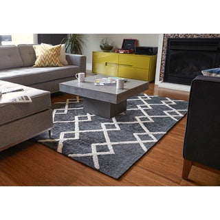 Jani Shale Grey and Ivory Rayon from Bamboo Viscose Rug (9' x 12')