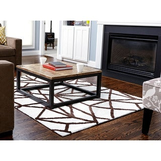 Jani Lia Ivory and Brown Rayon from Bamboo Viscose Rug (8' x 10')
