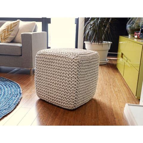 Jani Beige Jute Pouf Square Cube Ottoman