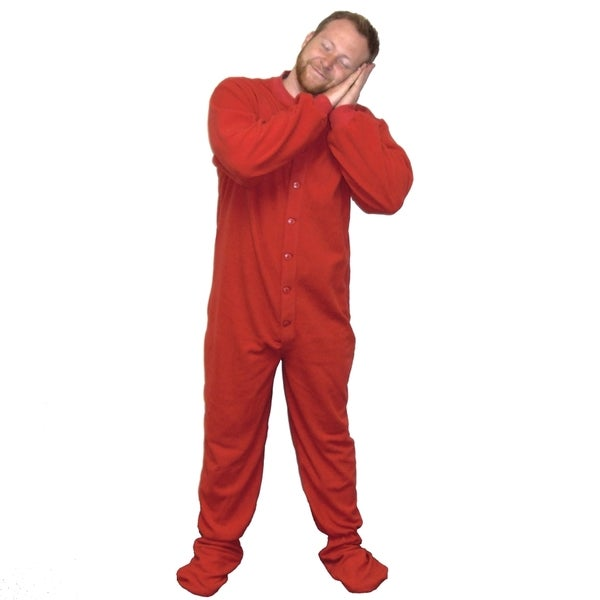 aa26af1d6b Shop Red Fleece Adult Footed Pajamas Footie Drop Seat Mens Womens PJs Soft  Comfy - Free Shipping Today - Overstock - 10356456