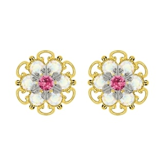 Lucia Costin Yellow Gold Plated, Sterling Silver, Pink, White Austrian Crystal, Stud Earrings