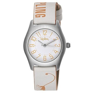 Kipling Girl's Orange Monkey White Leather Quartz Watch