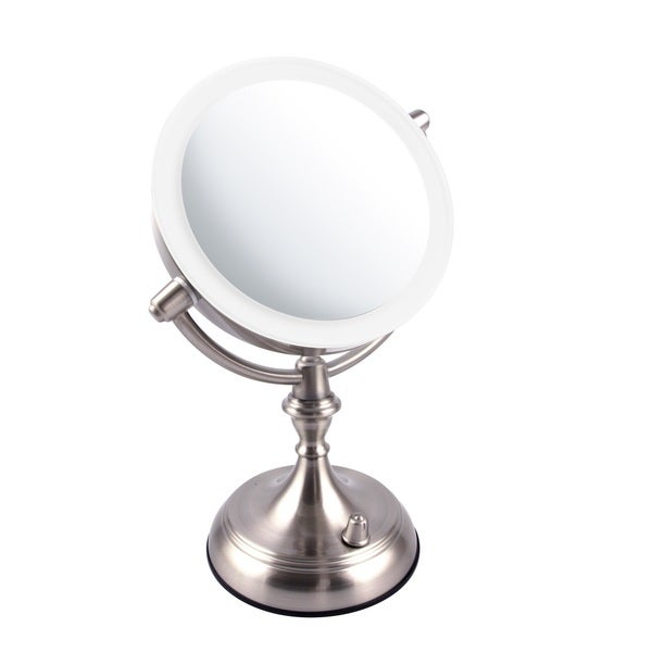 Ovente 7.5 Inch Dimmable LED Lighted Tabletop Vanity Mirror