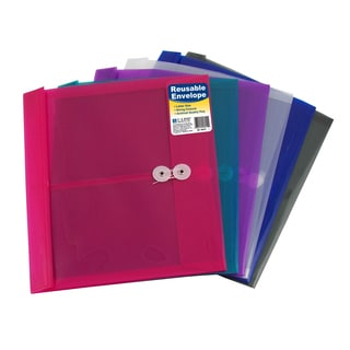C-Line Products Reusable Poly Envelope with String Closure, Side Load, Assorted Colors (Set of 24 Envelopes)
