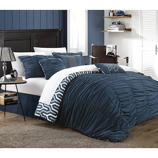 Chic Home Lester Navy Pleated Ruffled 7-piece Comforter Set