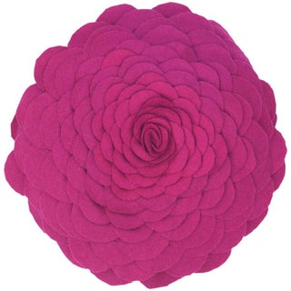 Rizzy Home 14-inch Round Floral Throw Pillow (Option: Magenta)