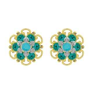 Lucia Costin Yellow Gold Plated, Sterling Silver, Turquoise, Green Austrian Crystal, Stud Earrings