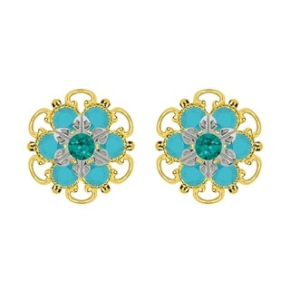 Lucia Costin Yellow Gold Plated, Sterling Silver, Green, Turquoise Austrian Crystal, Stud Earrings
