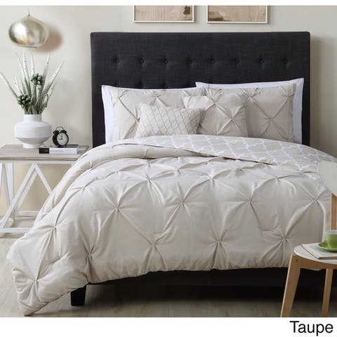 Madrid Pintuck Reversible Comforter Set with Throw Pillows