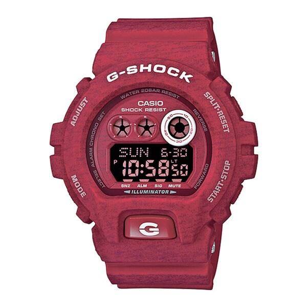 bbd8fc96eec4 Casio G-Shock Men  x27 s Heathered Digital Multi-Function Chronograph Red