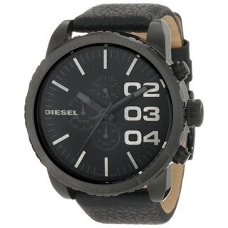 Diesel Men's Chronograph Black Dial Black Leather Watch DZ4216