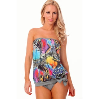 Women's Multicolored Aqua Swirls Bandeau Blouson Tankini