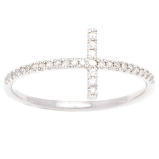10k White Gold 1/4ct TDW Pave Diamond Cross Band