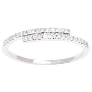 10k White Gold 1/4ct TDW Pave Diamond Bypass Band