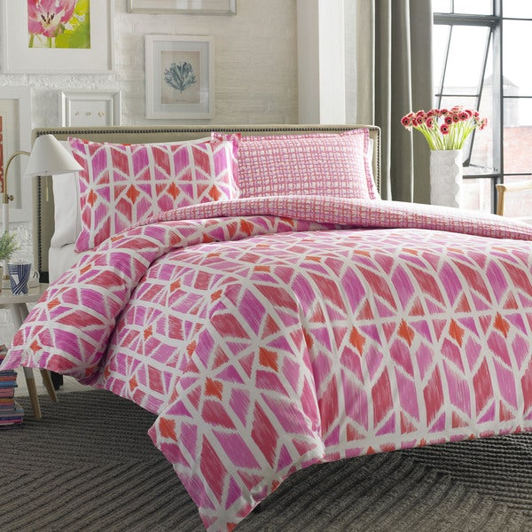 City Scene Grayson Pink 3-piece Duvet Cover Set